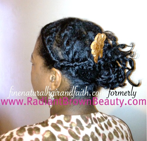 protective styling fine natural hair with hawaiian hair accessory