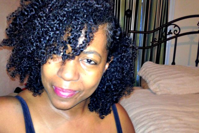 fine curly natural hair after goat's milk treatment