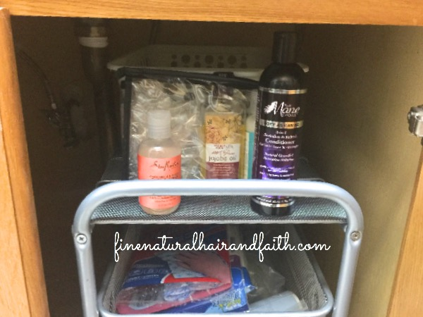 hair products under the sink