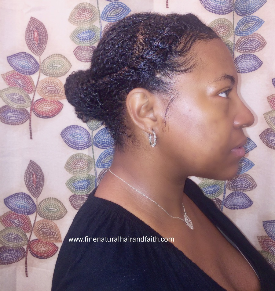 curly side bun with a twist